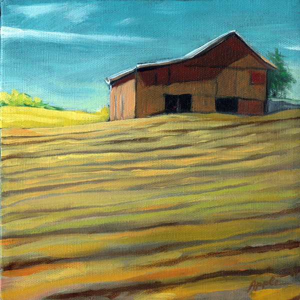 The Old Barn - farm landscape oil painting