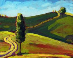 Old Country Road - landscape oil painting