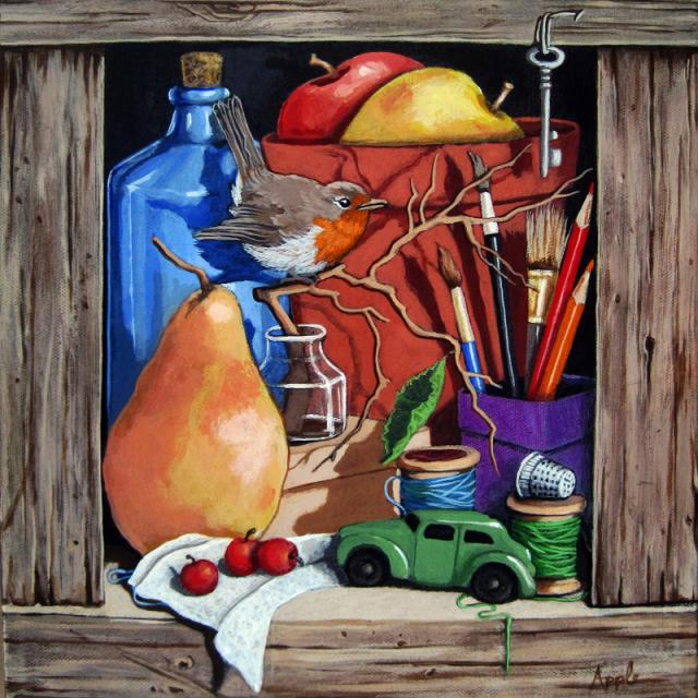 Old Blue Bottle still life w/ bird realism painting